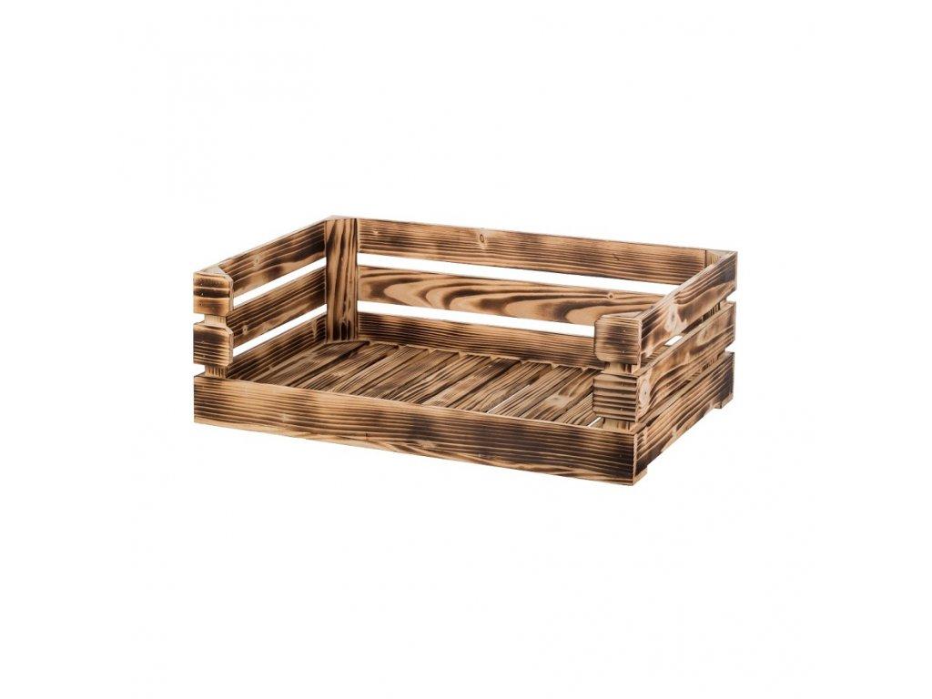 Opálená dřevěná bedýnka otevřená 60 x 39 x 20 cm