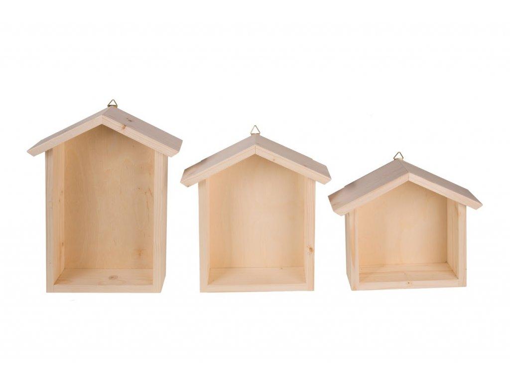 Dřevěná polička domeček - sada 3 ks II
