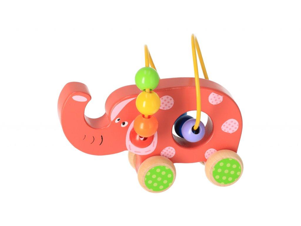 Dřevěný motorický labyrint na kolečkách (slon)