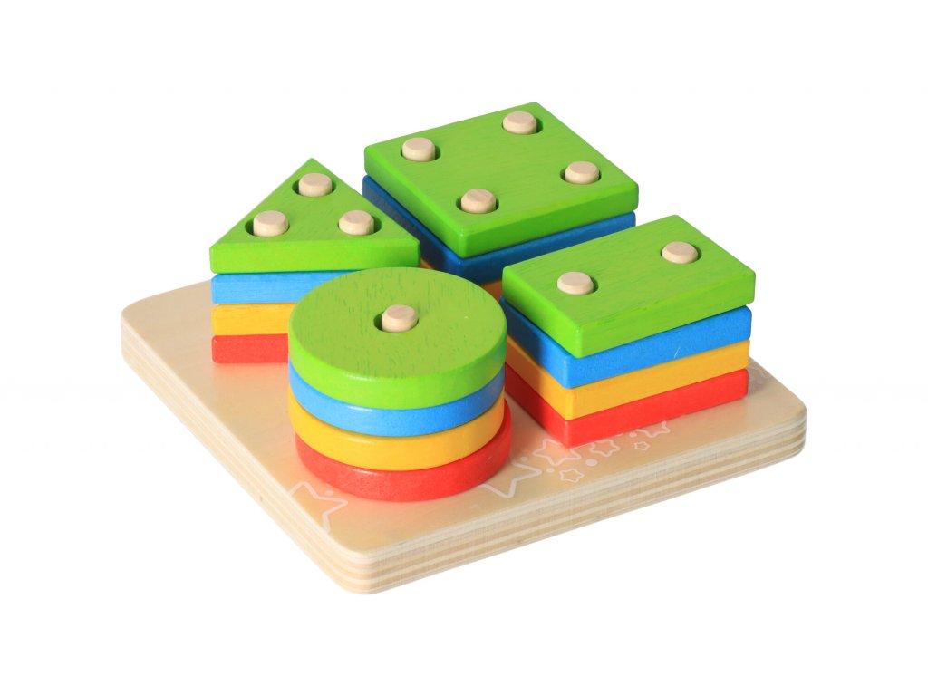 Dřevěná motorická hračka - nasazování tvarů na tyč