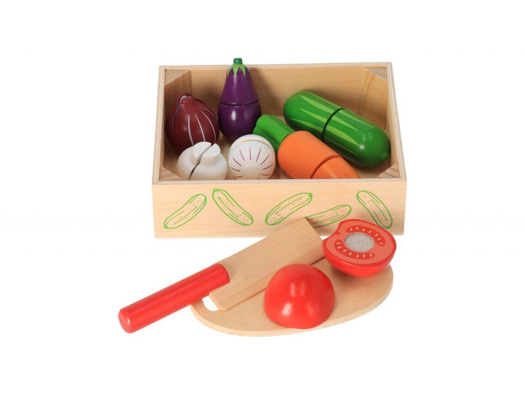 Dřevěná krájecí zelenina v krabičce