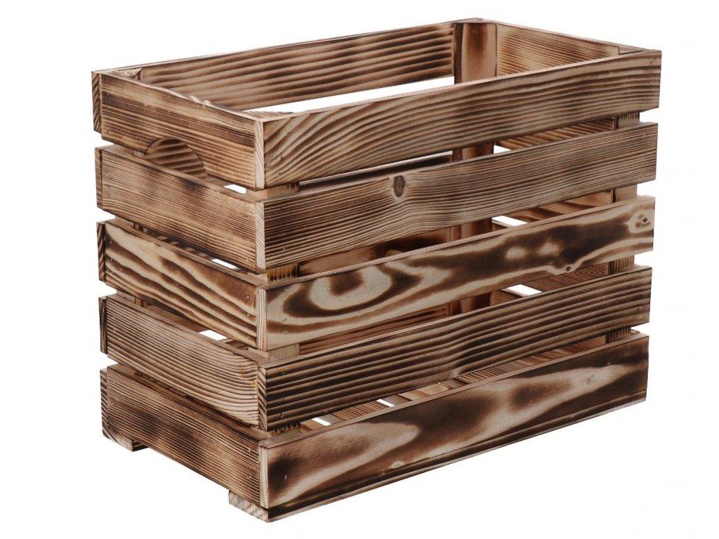 Opálená dřevěná bedýnka 40 x 22 x 30cm