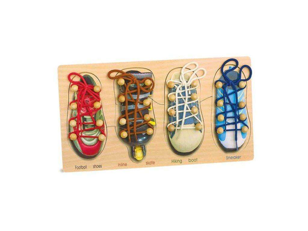 Dřevěná hra - provlékání a zavazování tkaniček