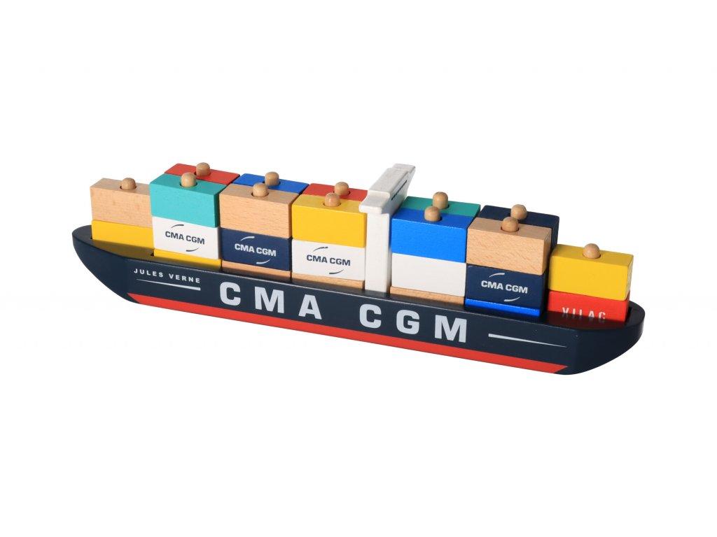 Dřevěná skládačka kontejnerová loď