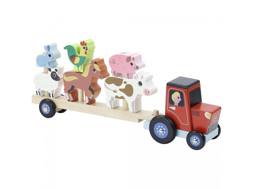Dřevěná nasazovačka - traktor se zvířátky