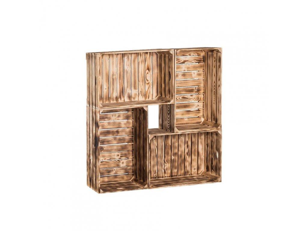 Dřevěné opálené bedýnky knihovna 100x100x24 cm