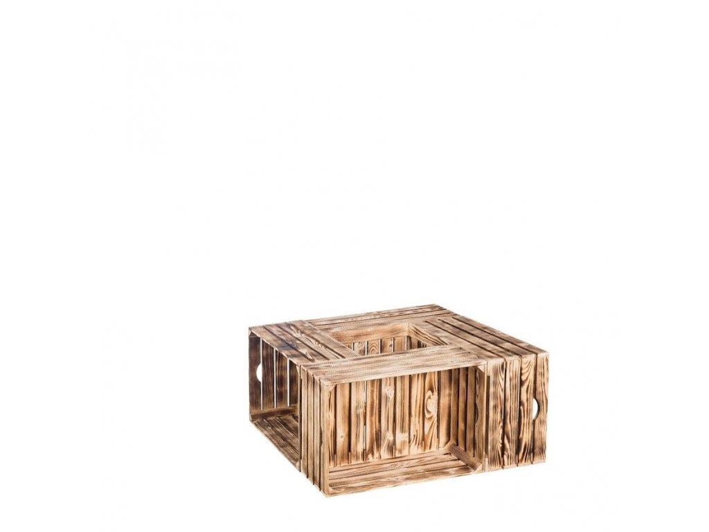 Dřevěné opálené bedýnky konferenční stolek 84x39x84 cm