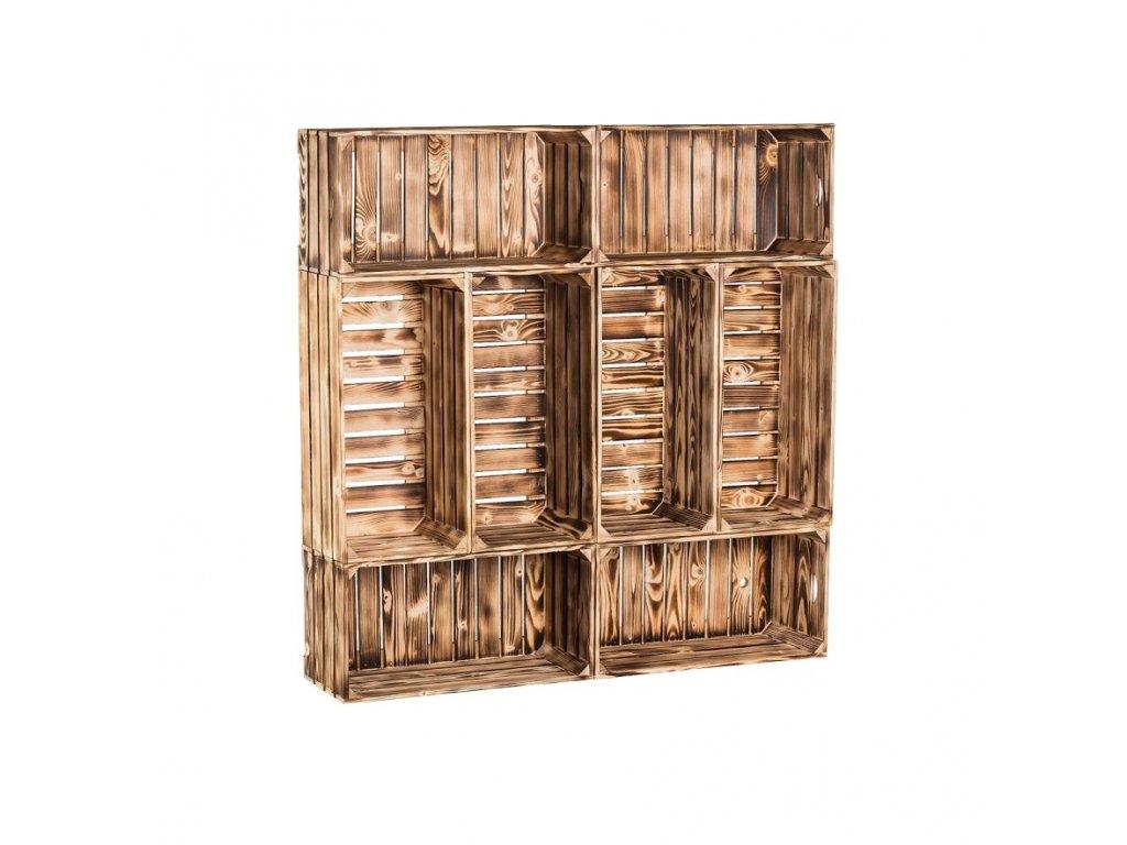 Dřevěné opálené bedýnky knihovna 120x120x24 cm