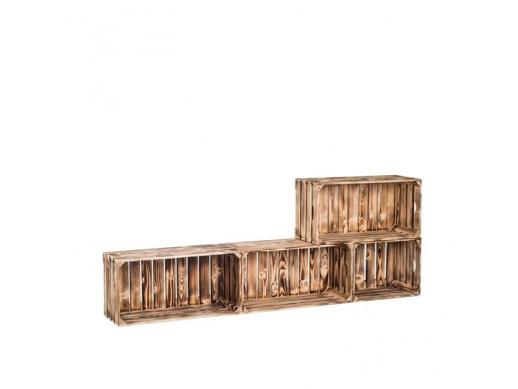 Dřevěné opálené bedýnky obývací stěna 160x60x24 cm