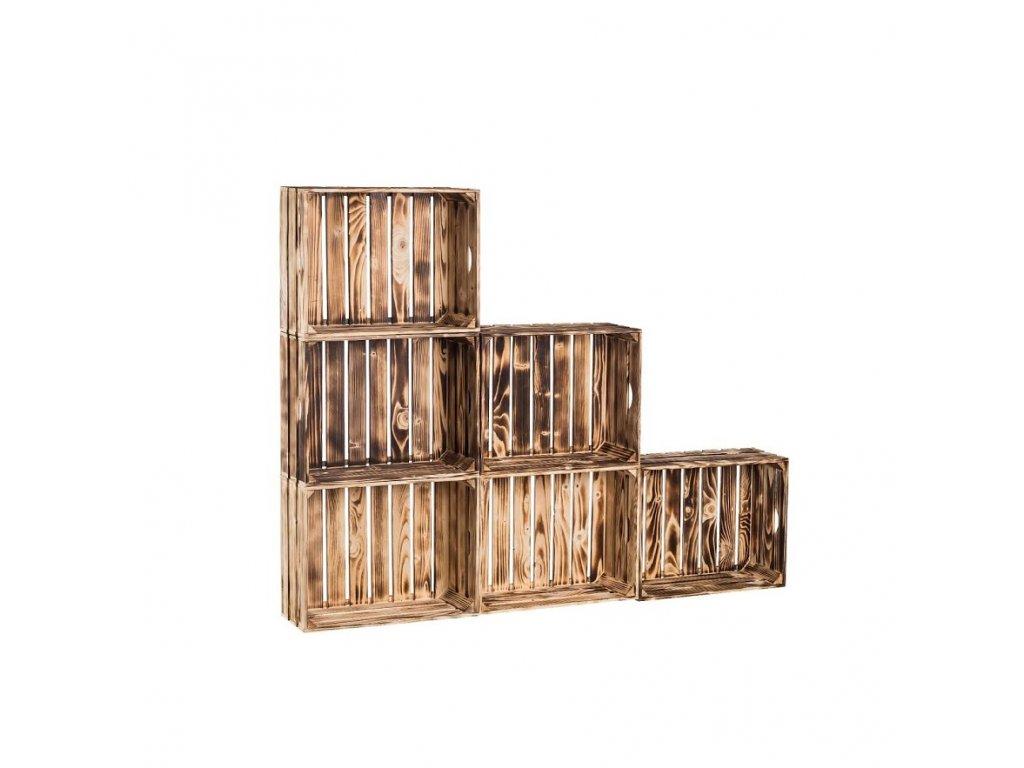 Dřevěné opálené bedýnky knihovna 150x120x20 cm