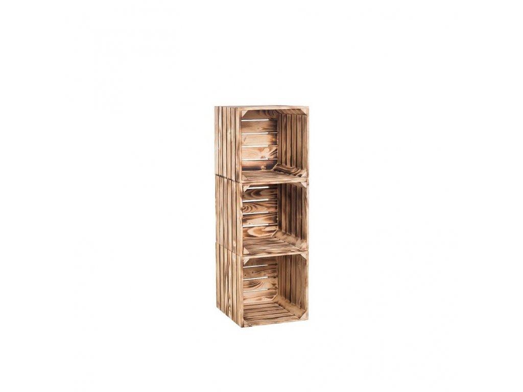 Dřevěné opálené bedýnky regál 90 x 30 x 35 cm