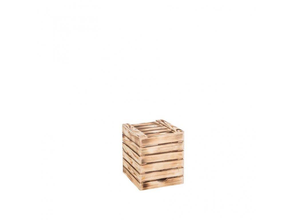 Dřevěná opálená bedýnka sedák 30x35x30 cm