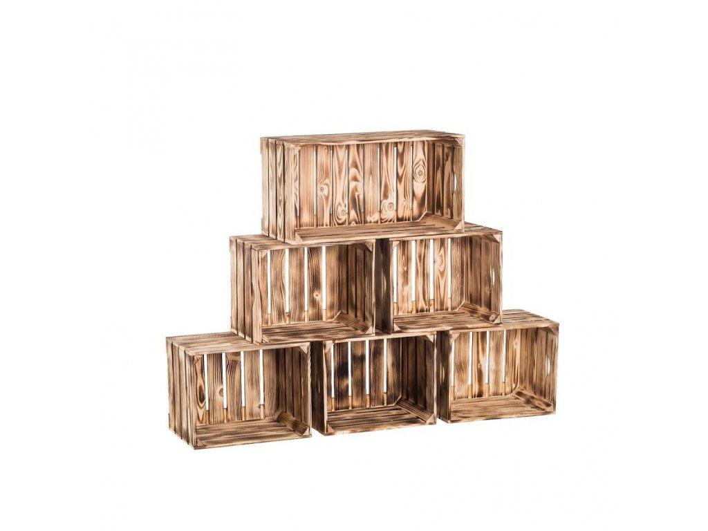 Dřevěné opálené bedýnky knihovna 140x90x24 cm
