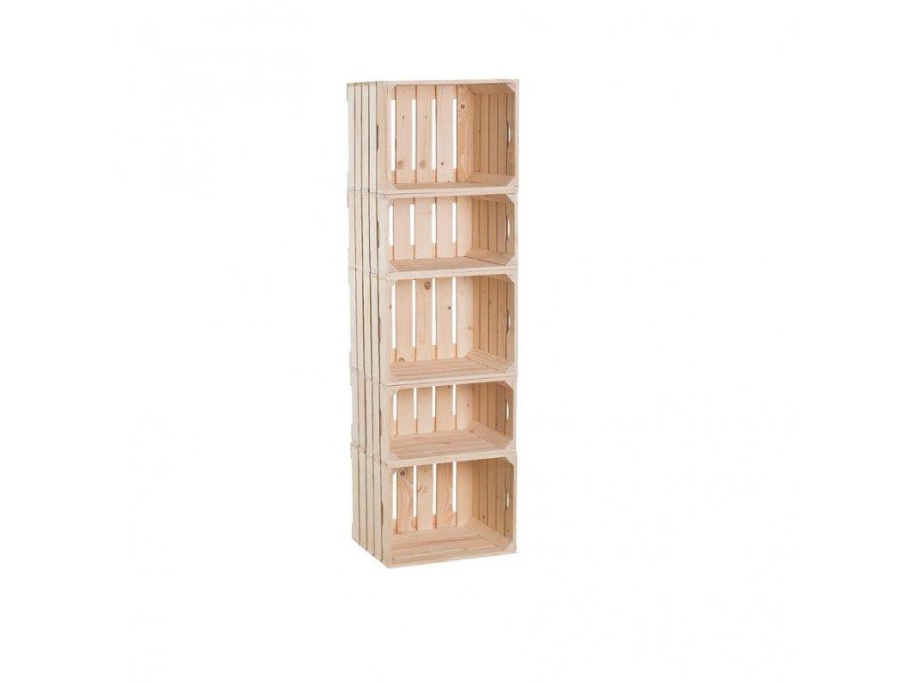Dřevěné bedýnky regál 134 x 40 x 30 cm