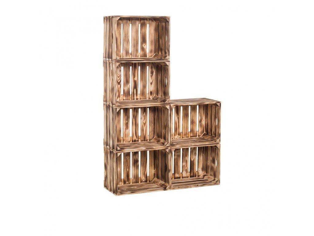 Dřevěné opálené bedýnky knihovna 120 x 80 x 24 cm