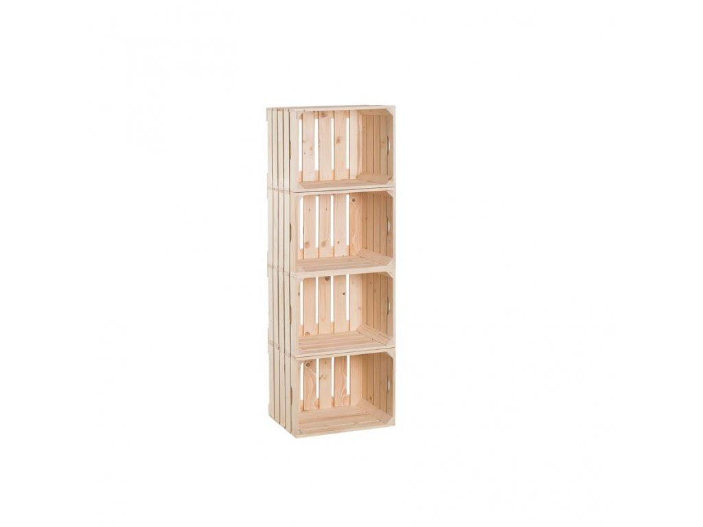 Dřevěné bedýnky regál 120 x 40 x 30 cm