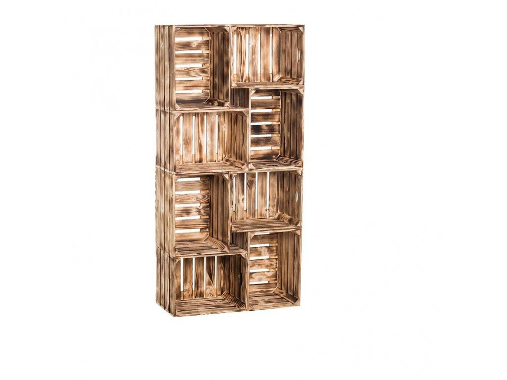 Dřevěné opálené bedýnky knihovna 140 x 70 x 24 cm