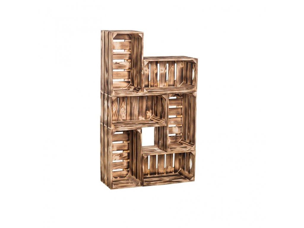 Dřevěné opálené bedýnky knihovna 62x102x20 cm