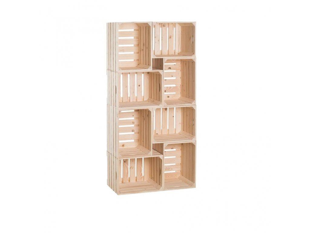 Dřevěné bedýnky knihovna 140 x 70 x 30 cm