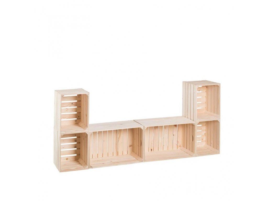Dřevěné bedýnky obývací stěna 80 x 180 x 30 cm