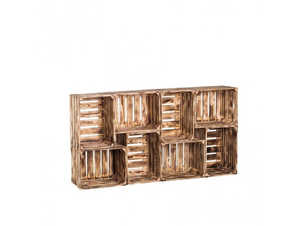 Dřevěné opálené bedýnky knihovna 78 x 156 x 30 cm