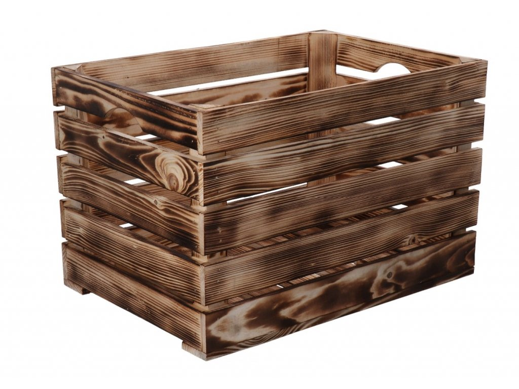 Opálená dřevěná bedýnka 46 x 32 x 30cm