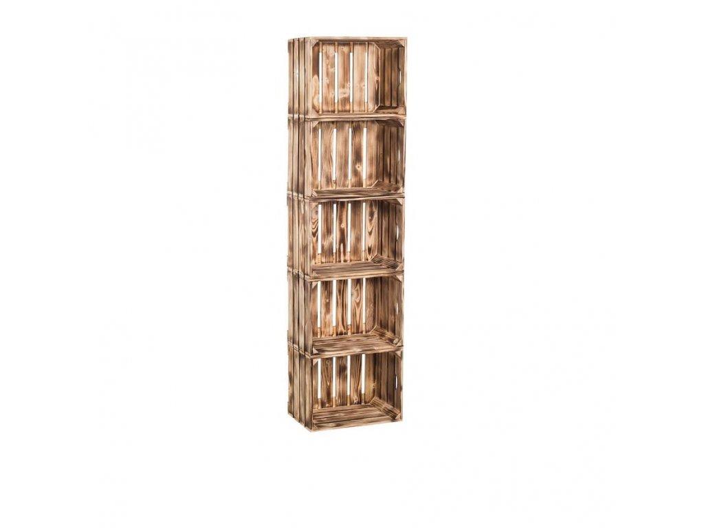Dřevěné opálené bedýnky regál 150 x 40 x 24 cm