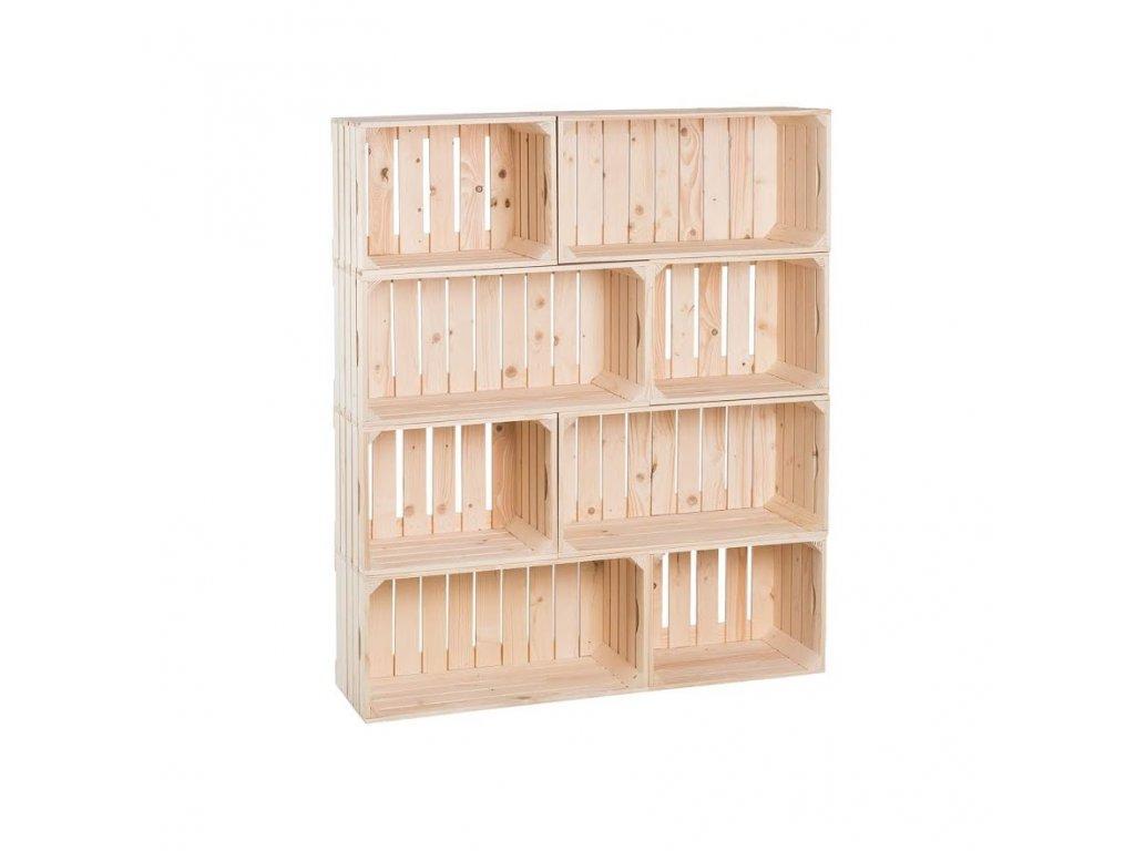 Dřevěné bedýnky knihovna 120 x 100 x 30 cm