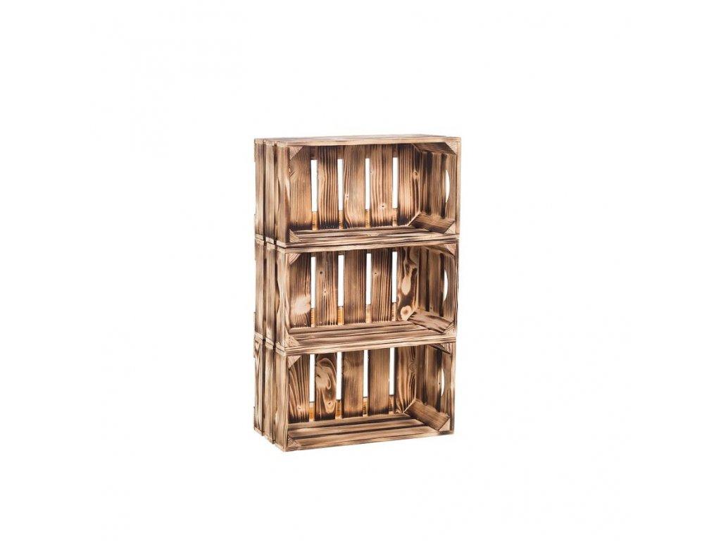 Dřevěné opálené bedýnky regál 66 x 40 x 20 cm