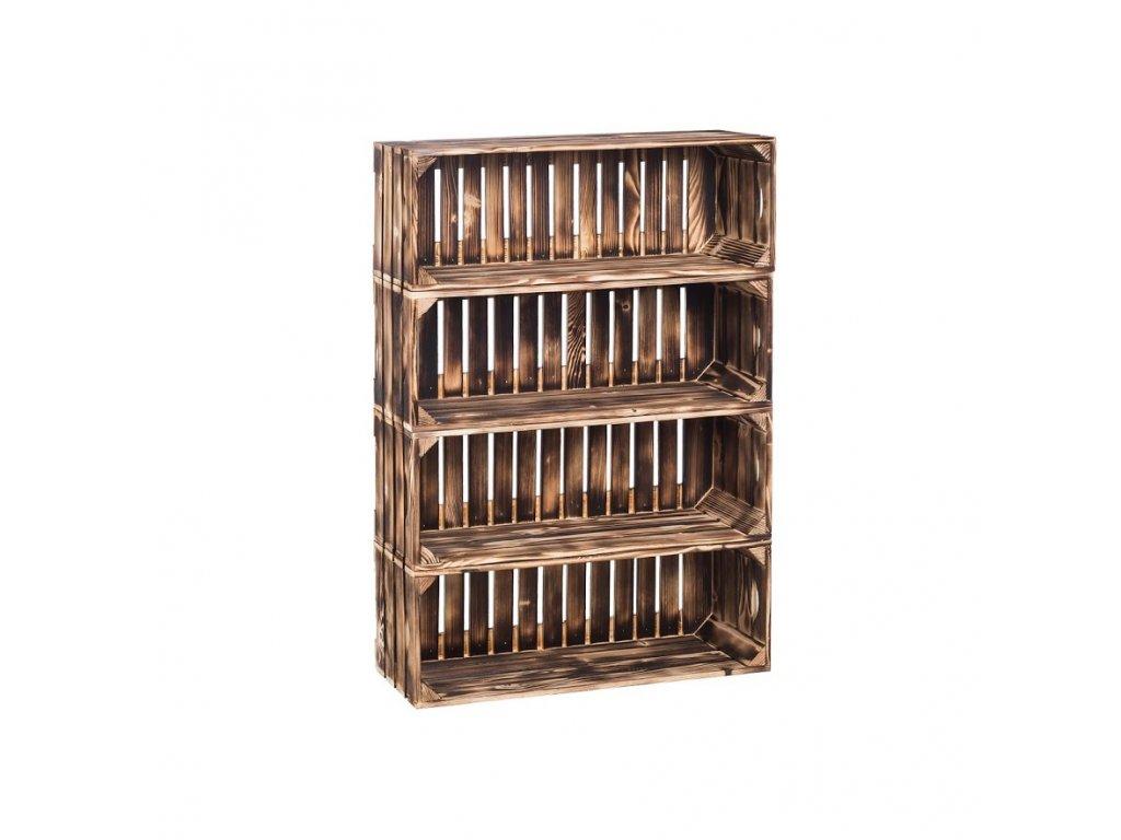 Dřevěné opálené bedýnky regál 88 x 60 x 24 cm
