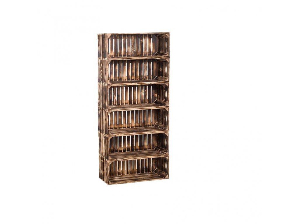 Dřevěné opálené bedýnky regál 132 x 60 x 24 cm