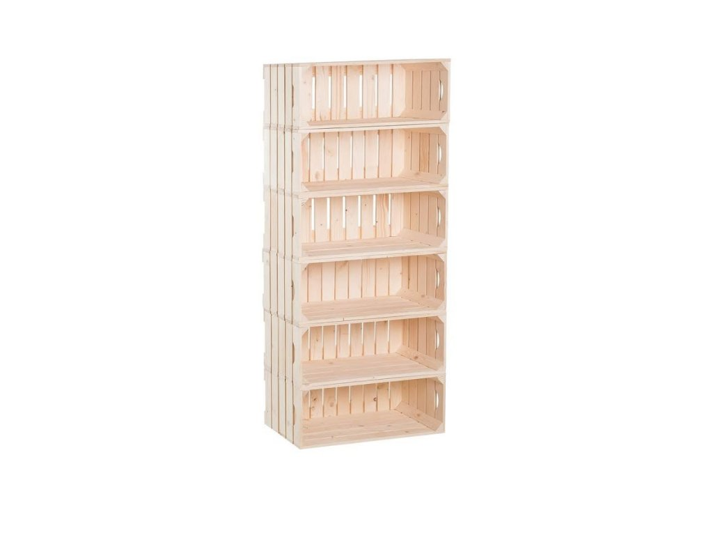 Dřevěné bedýnky regál 132 x 60 x 30 cm