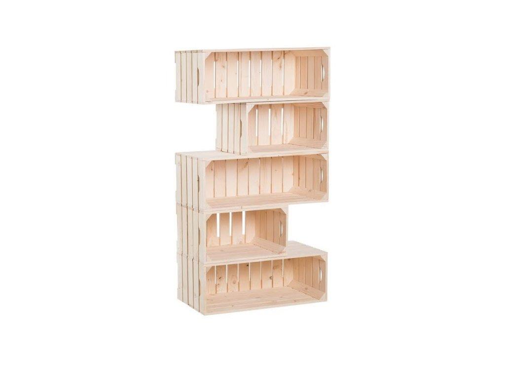 Dřevěné bedýnky knihovna 150 x 60 x 30 cm
