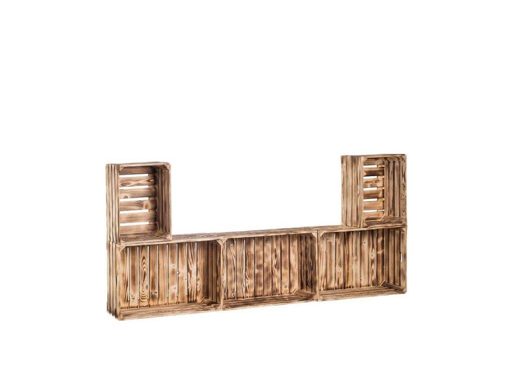 Dřevěné opálené bedýnky obývací stěna 79x180x24 cm