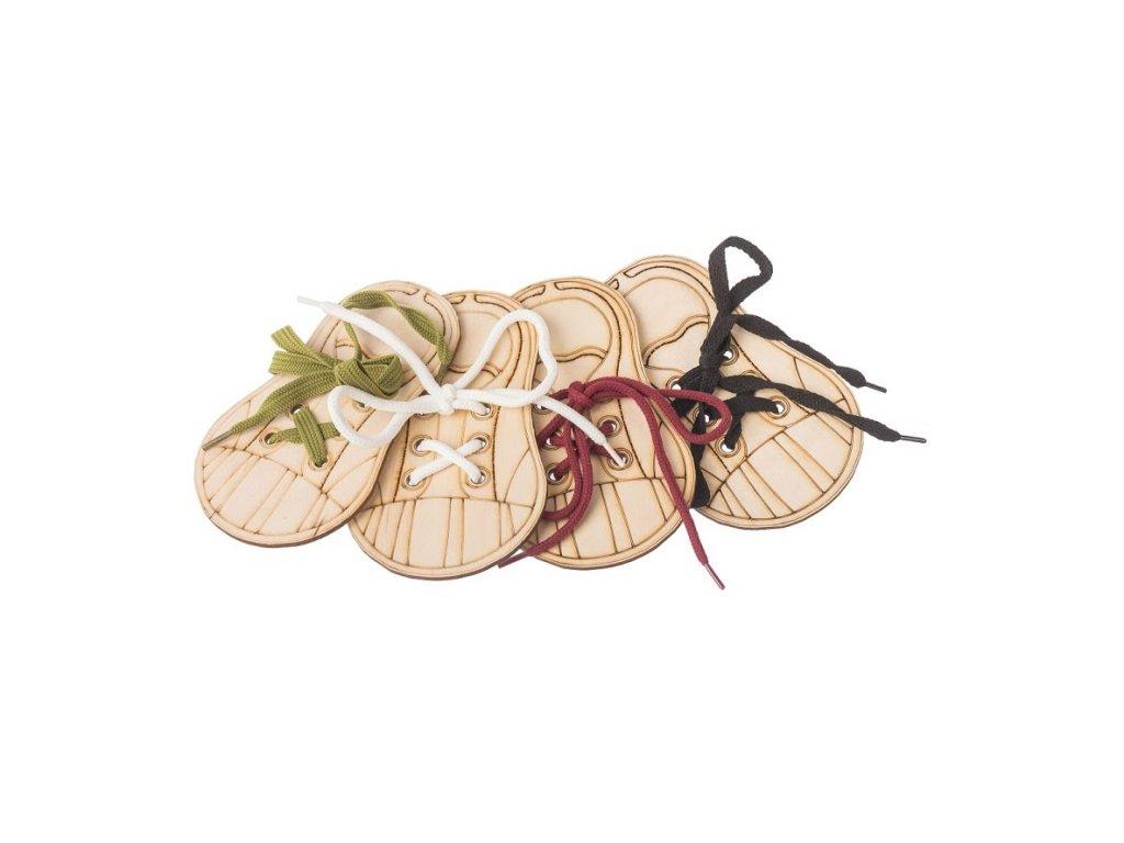 Dřevěná bota - zavaž si tkaničku (set 4ks)