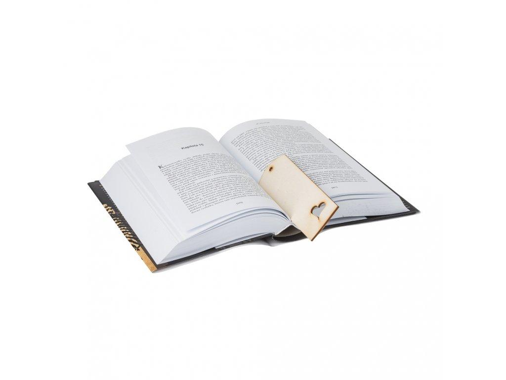 Dřevěná záložka do knihy se srdíčkem