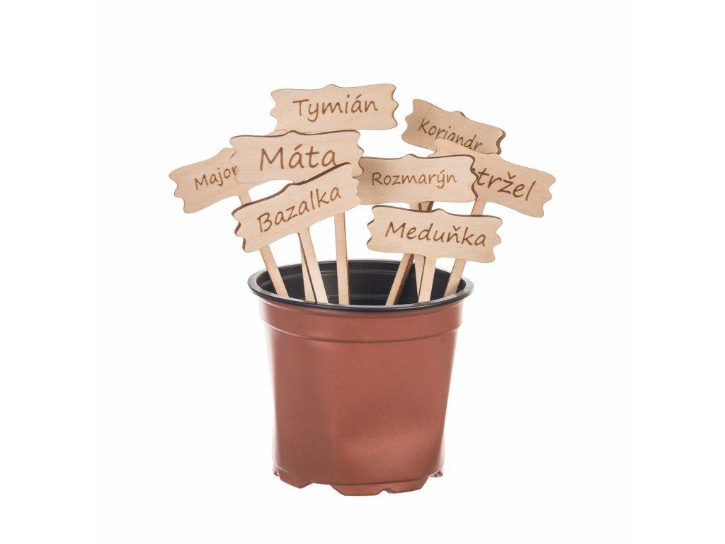 Dřevěné cedulky na bylinky s vlastním textem - 8 ks