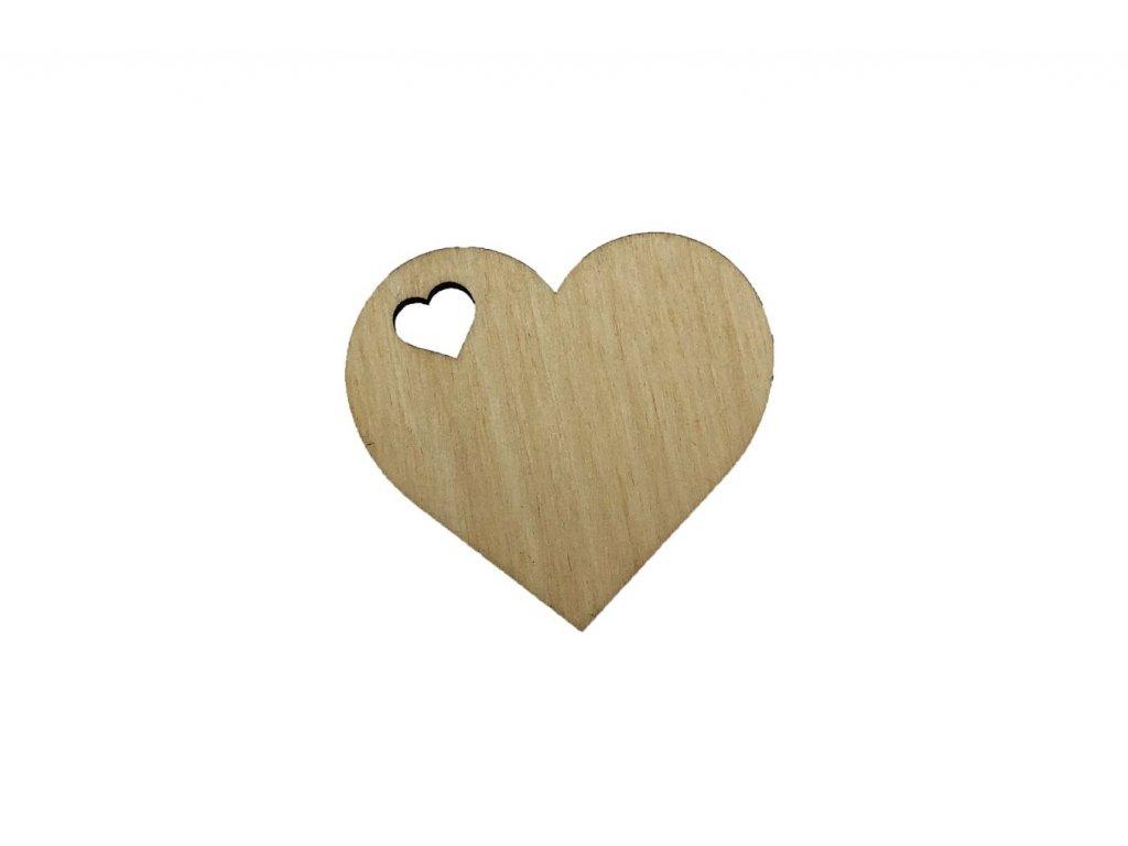 Dřevěné srdíčko s vyřezaným srdcem 6 x 5,5 cm