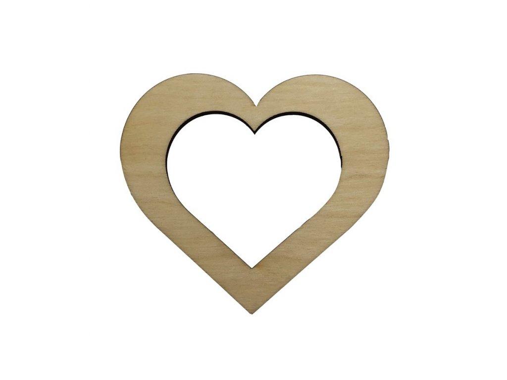 Dřevěné srdce v srdci 8 x 7 cm