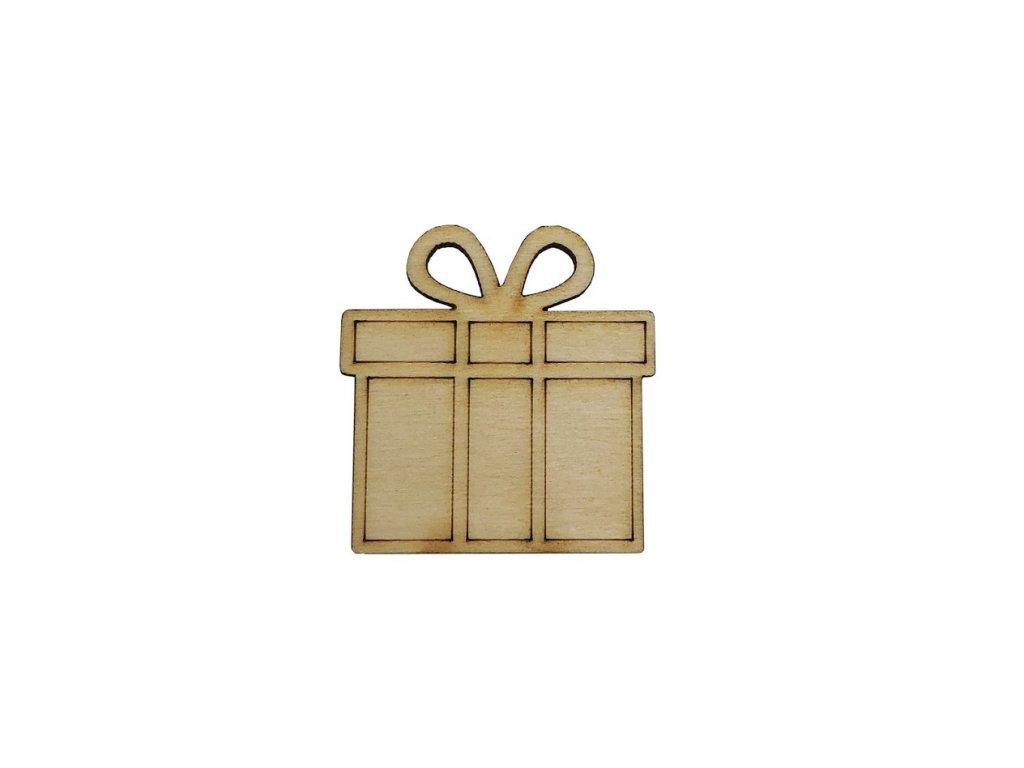 Dřevěný vánoční dáreček 4 x 4 cm