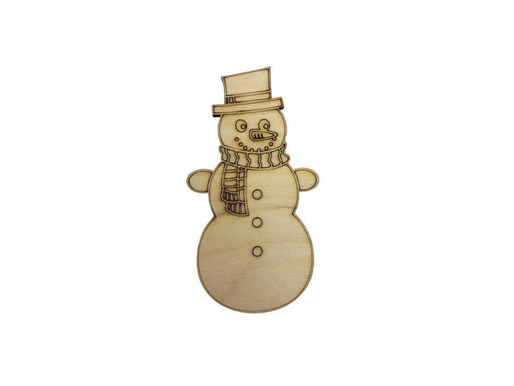 Dřevěný sněhulák 10 x 5,5 cm