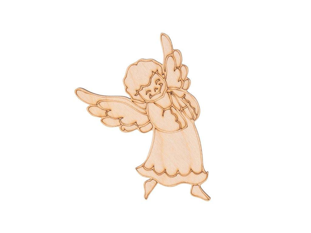 Dřevěný vánoční anděl III 10 x 7 cm