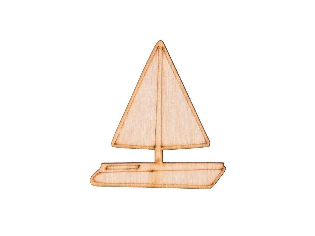 Dřevěná plachetnice 9 x 8 cm