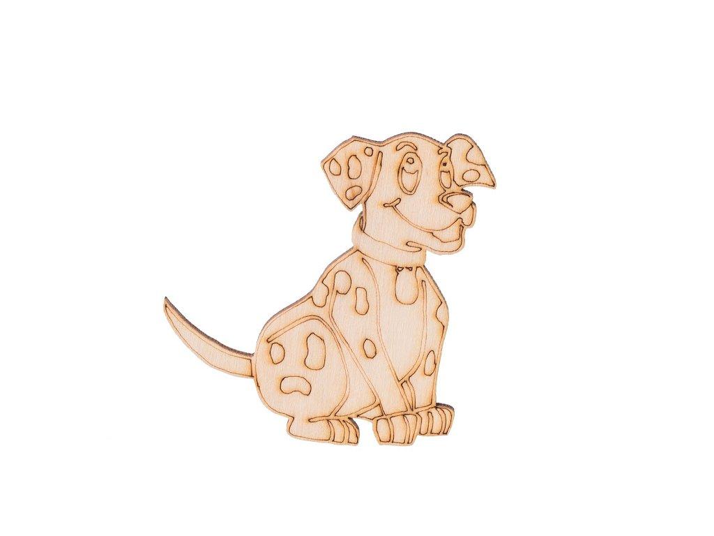 Dřevěný pes 7 x 6,5 cm