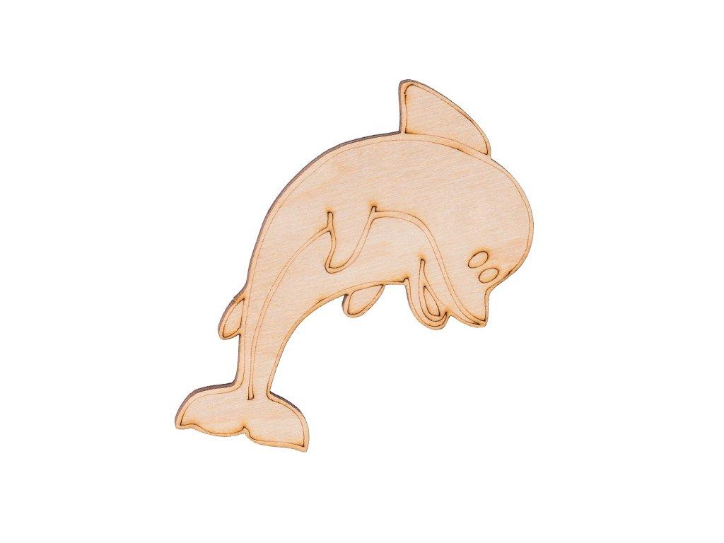 Dřevěný delfín 9 x 7,5 cm