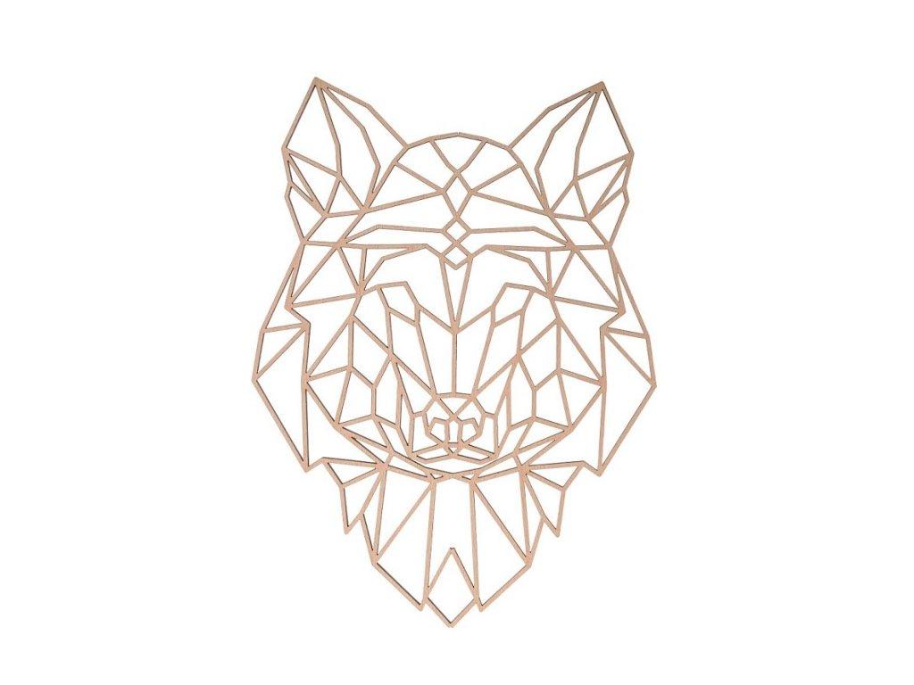 Dřevěný geometrický obraz - vlk