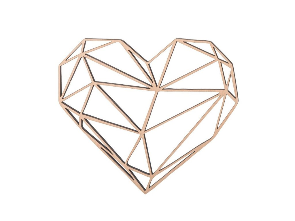 Dřevěný geometrický obraz - srdce