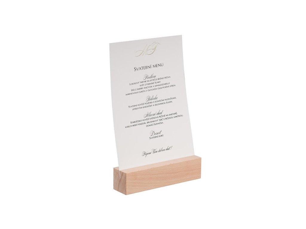 Dřevěný stojan na menu A4 I