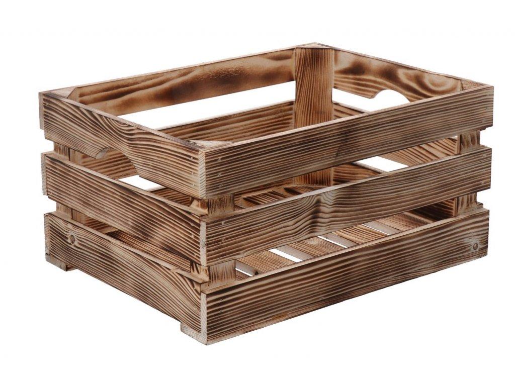 Opálená dřevěná bedýnka 40 x 30 x 20 cm