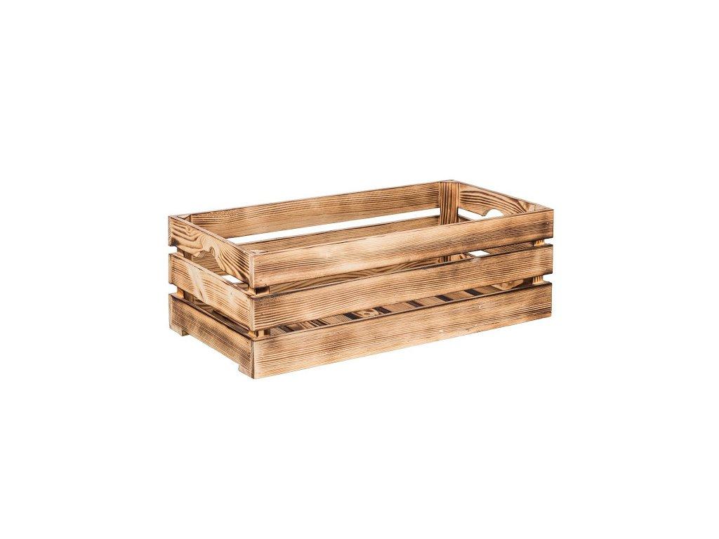 Opálená dřevěná bedýnka 60 x 30 x 20 cm